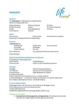 Lifecamp Packliste Sommer