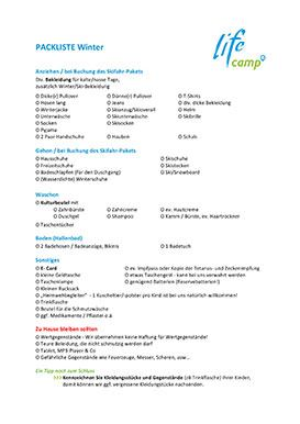 Lifecamp Packliste Winter