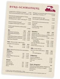 Speise- & Getränkekarte Burg Altpernstein